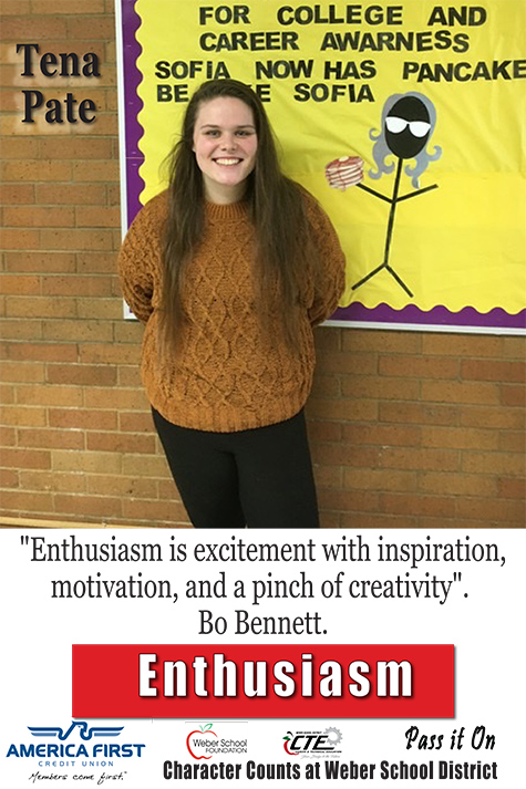 "Tena Pate - Enthusiasm - ""Enthusiasm is excitement with inspiration, motivation, and a pinch of creativity"". -Bo Bennett"