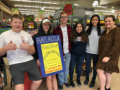 BHS Students advertise for fill the backpack event
