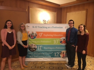 Students currently enrolled in Education 1010 shared their education experiences and future teaching career goals with those in attendance at the Utah State Board Association conference.