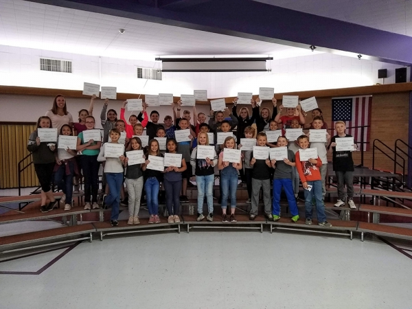 Valley View Elementary Students holding award certificates
