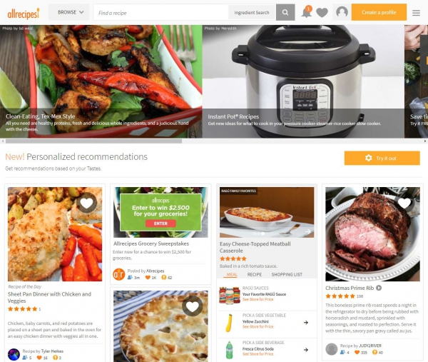 Screen Capture of Allrecipe website