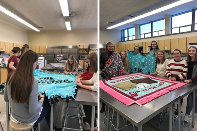 FCCLA Students Tie Blankets and Donated them to Youth Futures