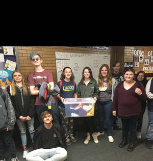Ms.Gill's FCCLA members and her Outdoor Sewing class made over 50 beanies for Lakeview Elementary students