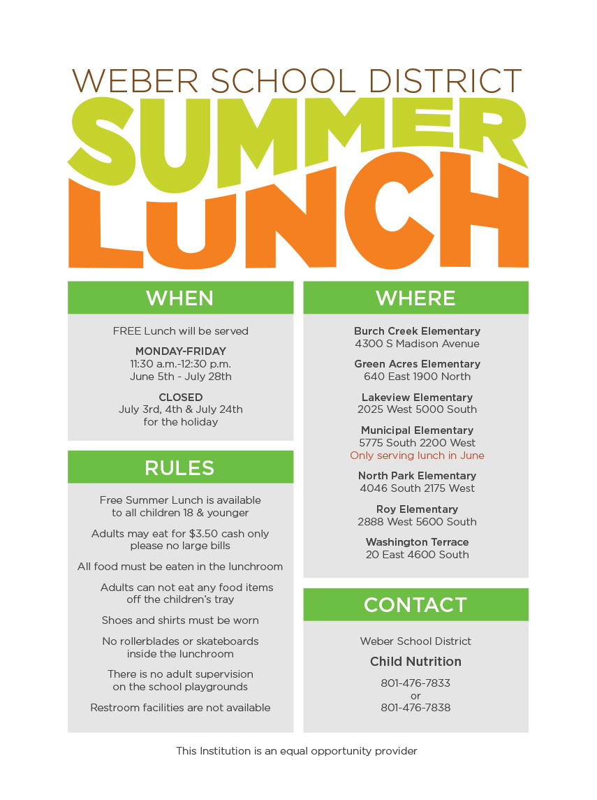summer lunch information 2017