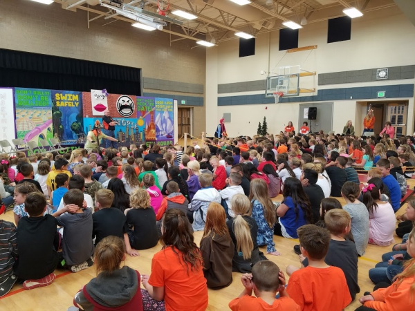 Roy Fire Department presents a fire safety assembly at North Park Elementary