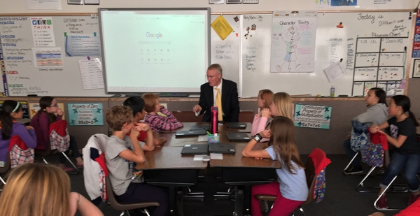 Superintendent Stephens visits with fifth grade students at Lakeview Elementary about how they are using 1:1 chrome books to empower learning