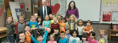 "Superintendent Stephens asks students about the ""Leader In Me Habits"" while visiting Lakeview"