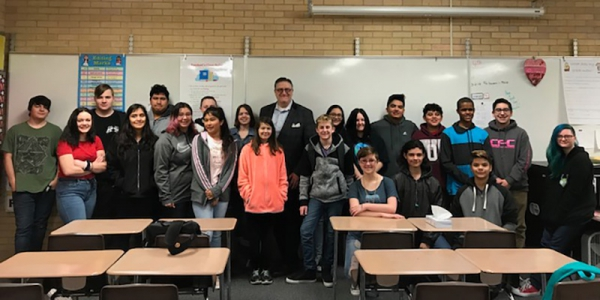 """Best selling Author, Sam Bracken visits T.H. Bell Junior High"