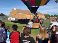 Children at Lakeview learned all about hot air balloons and how they inflate, launch and fly.