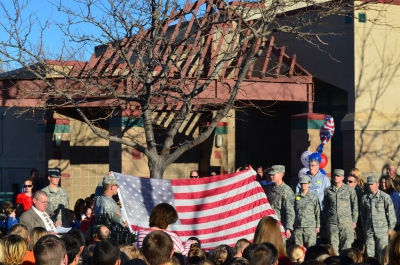 Washington Terrace Elementary honored Veterans and retired their flag.