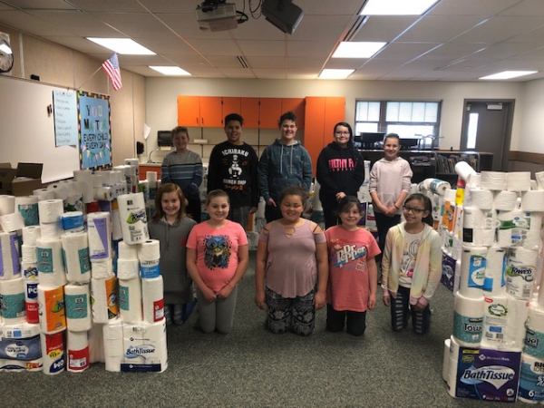 Midland Elementary held a toilet paper/paper towel drive for the Ogden Rescue Mission and gathered hundreds of donated rolls