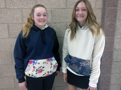 Melissa Judkins Apparell Design Students At Wahlquist, used leftover patterns and their knowledge of appropriate textiles. Each student has purchased fabric, adjusted the pattern to fit their body measurements and they created these awesome hoodies!