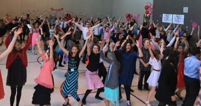6th graders at Freedom Elementary enjoying the Valentine's Day Dance